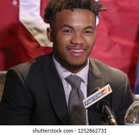 NEW YORK-DEC 8: (L-R) Oklahoma Sooners quarterback Kyler Murray during a press conference before the Heisman Trophy ceremony on December 8, 2018 at the Marriott Marquis in New York City.