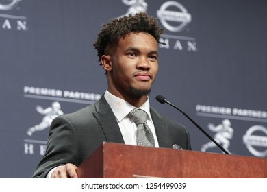 NEW YORK-DEC 8: Oklahoma Sooners quarterback Kyler Murray, winner of the 84th Heisman Trophy, speaks to the media on December 8, 2018 at the Marriott Marquis in New York City.