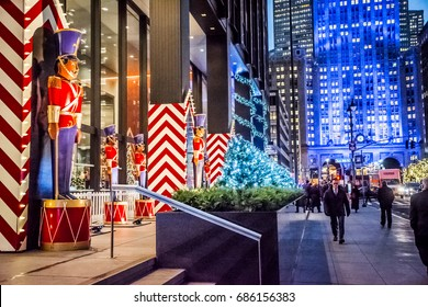 NEW YORK-DECEMBER 7: Toy soldier Christmas decorations and colorful building lights along Park Avenue on December 7 2016 in New York City.