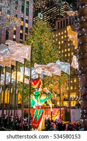 NEW YORK-DECEMBER 7: The world famous Rockefeller Christmas tree and holiday decorations on December 7 2016 in New York City.