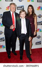 NEW YORK-FEB 16: (L-R) Donald Trump, son Barron  Trump and wife Melania Trump attend 'The Celebrity Apprentice' finale at Trump Tower on February 16, 2015 in New York City.