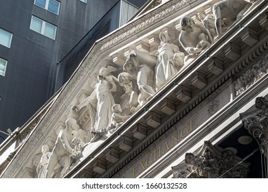 NEW YORK-February 28: A detailed look at the sculpture on the New York Stock Exchange and the protective netting covering it on February 28 2020 in lower Manhattan.