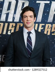 "NEW YORK-JAN 17: Ethan Peck attends the ""Star Trek: Discovery"" Season 2 premiere at Conrad New York on January 17, 2019 in New York City."