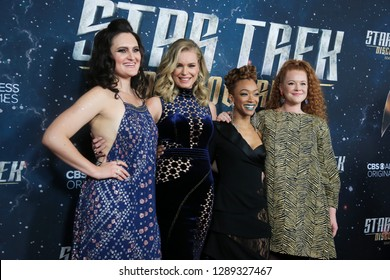 """NEW YORK-JAN 17: (L-R) Mary Chieffo, Rebecca Romijn, Sonequa Martin-Green and Mary Wiseman attend the """"Star Trek: Discovery"""" Season 2 premiere at Conrad New York on January 17, 2019 in New York City."""