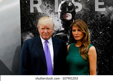 """NEW YORK-JULY 16: Donald Trump and wife Melania attend the world premiere of """"The Dark Knight Rises"""" at AMC Lincoln Square Theater on July 16, 2012 in New York City."""