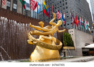 NEW YORK-JULY 19:Prometheus statue at Rockefeller Center on July 19,2013 in NY. The sculpture was made 1934 by sculptor Paul Manship.Statue is made of bronze, and its surface is covered with gold leaf