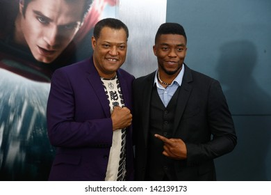 "NEW YORK-JUNE 10: Actors Laurence Fishburne (L) and Chadwick Boseman attend the world premiere of ""Man of Steel"" at Alice Tully Hall at Lincoln Center on June 10, 2013 in New York City."