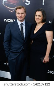 """NEW YORK-JUNE 10: Director Christopher Nolan and wife Emma Thomas attend the world premiere of """"Man of Steel"""" at Alice Tully Hall at Lincoln Center on June 10, 2013 in New York City."""