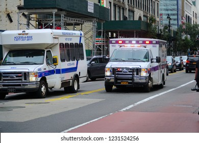 New York/Manhattan/USA - 7 October 2018: NYU Langone Medical Center Ambulance in midtown Manhattan.