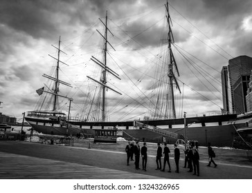 NEW YORK-MARCH 23: A tall ship in South Street Seaport, a popular tourist destination on March 23 2018 in lower Manhattan.