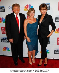 """NEW YORK-MAY 20: Donald Trump, Allison Sweeney Melania Trump attend the """"Celebrity Apprentice"""" Live Finale at the American Museum of Natural History on May 20, 2012 in New York City."""