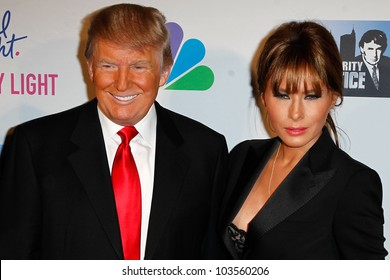 """NEW YORK-MAY 20: Donald Trump and wife Melania attend the """"Celebrity Apprentice"""" Live Finale at the American Museum of Natural History on May 20, 2012 in New York City."""