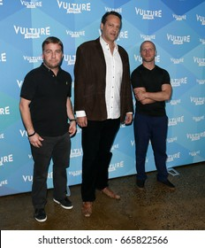 NEW YORK-MAY 20: (L-R) Peter Billingsley, Vince Vaughn & Tim Ferriss attend 'Tim Ferris and Vince Vaughn: In Conversation' during 2017 Vulture Festival at Milk Studios on May 20, 2017 in New York.