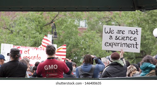 NEW YORK-MAY 25: Protestors gather near the Union Square subway station for the March Against Monsanto on May 25, 2013 in Manhattan. The rally was part of a movement against genetically modified food.