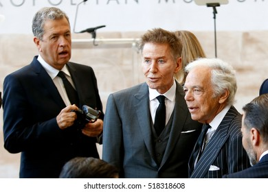 NEW YORK-MAY 5: (L-R) Photographer Mario Testino, Calvin Klein and Ralph Lauren at the Anna Wintour Costume Center Grand Opening at the Metropolitan Museum of Art on May 5, 2014 in New York City.