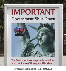 NEW YORK/NEW YORK STATE, USA � OCTOBER 4TH: The Statue of Liberty in New York is closed due to the government shutdown on October 4, 2013 in New York.