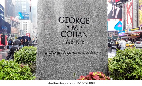 New York/New York/USA - Mai 31 2018: Partial view of George M. Cohan tribute plaque in Time Square