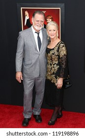 "NEW YORK-NOV 18: Actress Helen Mirren and husband Taylor Hackford attend the premiere of ""Hitchcock"" at the Ziegfeld Theatre on November 18, 2012 in New York City."