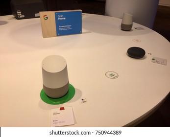 NEW YORK-NOVEMBER 2, 2017: Google pop-up retail store Manhattan Flatiron sells Google Smarthome, Home Mini, Max, Pixelbook, Daydream view, Buds. Alphabet Inc. (NASDAQ: GOOGL)