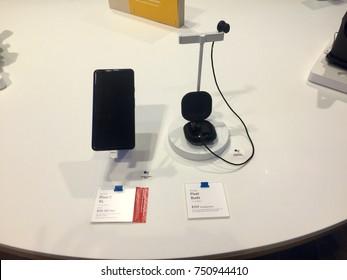 NEW YORK-NOVEMBER 2, 2017: Google pop-up retail store Manhattan Flatiron sells Pixel 2 XL next gen smartphone w Android, Buds, camera, Google Lens. Alphabet Inc. (NASDAQ: GOOGL) Larry Page Sergey Brin