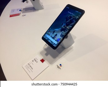 NEW YORK-NOVEMBER 2, 2017: Google pop-up retail store Manhattan Flatiron sells Pixel 2 XL next gen smartphone w Android, OIS camera, Google Lens. Alphabet Inc. (NASDAQ: GOOGL) Larry Page Sergey Brin.