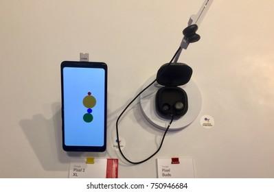 NEW YORK-NOVEMBER 2, 2017: Google pop-up retail store Manhattan Flatiron sells Pixel 2 next gen smartphone w Android, OIS camera, Buds, Google Lens. Alphabet Inc. (NASDAQ: GOOGL)