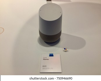 NEW YORK-NOVEMBER 2, 2017: Google pop-up retail store Manhattan sells Google Smarthome, Home Mini, Home Max. Smart speakers intelligent personal assistant voice commands. Alphabet Inc. (NASDAQ: GOOGL)