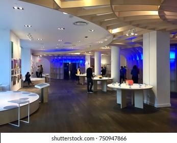 NEW YORK-NOVEMBER 2, 2017: Google pop-up retail store Manhattan Flatiron sells Pixel 2 Android smartphone, Smarthome, Home Mini, Max, Pixelbook, Daydream view, Buds. Alphabet Inc. (NASDAQ: GOOGL)