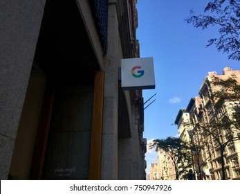NEW YORK-NOVEMBER 2, 2017: Google pop-up retail store exterior storefront Manhattan Flatiron sells Pixel 2 Android smartphone, Smarthome, Home Mini, Max, Pixelbook, Daydream view (NASDAQ: GOOGL)