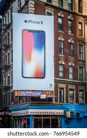 NEW YORK-NOVEMBER 20: An Apple billboard for iPhone displayed on an apartment building on November 20, 2017 in lower Manhattan.