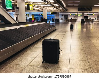 New York/NY/USA - 08/18/18: Two baggages left alone on baggage claim area of JFK Airport