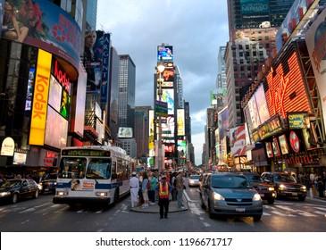 New York,NY/USA-08.21.2008:New York city streets , Broadway , Times square .