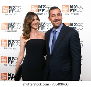 "NEW YORK-OCT 1: Adam Sandler (R) and wife Jackie attend ""The Meyerowitz Stories (New and Selected)"" screening at 2017 New York Film Festival at Alice Tully Hall on October 1, 2017 in New York City."