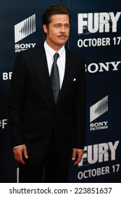 """NEW YORK-OCT 15: Actor Brad Pitt attends the world premiere of """"The Fury"""" at the Newseum on October 15, 2014 in Washington DC."""