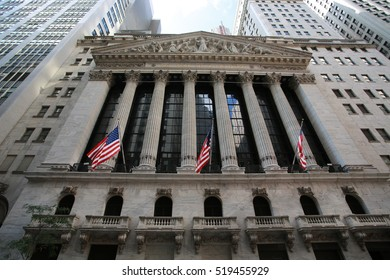 "NEW YORK;OCT 6: facade of new york stock exchange in New York on 6 October 2016. it is so called ""The Big Board"", it located in wall street and  heart of the american stock market"