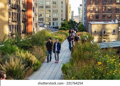 NEW YORK-OCTOBER 20:Classic New York City architecture can be seen along the High Line Park on October 20, 2014 in Manhattan.