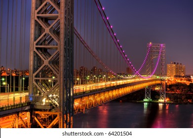 New Yorks George Washington Bridge in Pink for Breast Cancer awareness Month