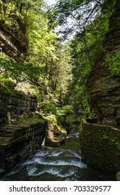New York's Robert H Treman State Park cascades, rocks