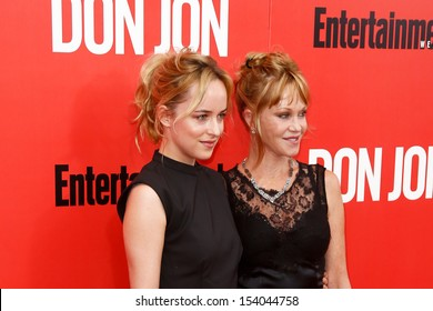 """NEW YORK-SEP 12: Dakota Johnson (L) and Melanie Griffith attends the """"Don Jon"""" New York premiere at the SVA Theater on September 12, 2013 in New York City."""