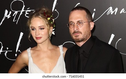 "NEW YORK-SEP 13: Actress Jennifer Lawrence (L) and director Darren Aronofsky attend the ""mother!"" premiere at Radio City Music Hall on September 13, 2017 in New York City."