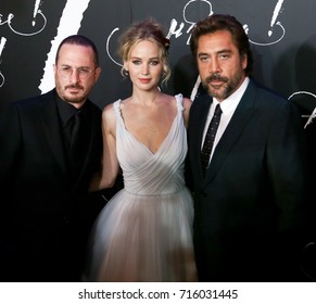 "NEW YORK-SEP 13: (L-R) Director Darren Aronofsky and actors Jennifer Lawrence and Javier Bardem attend the ""mother!"" premiere at Radio City Music Hall on September 13, 2017 in New York City."