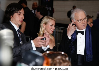 """NEW YORK-SEP 27: (l-r) Adam Driver, Naomi Watts and Charles Grodin filming """"While We're Young"""" on September 27, 2013 in New York City."""