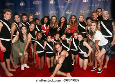 NEW YORK-SEP 9: Little Mix and Acro Army attend the America's Got Talent Season 10 Semi-finals taping at Radio City Music Hall on on September 9, 2015 in New York City.