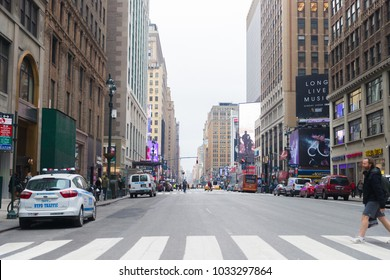 New York,United States - February 19, 2018: busy Street building in New York