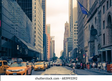 New York,United States - July 23, 2017: A view down a busy fifth avenue street