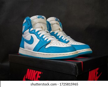 New York,United states/USA - May8 2020:Nike Air Jordan 1 Retro High, blue, white, UNC, black background