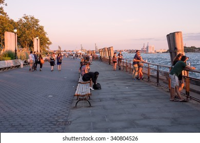 NEW YORK,USA - AUGUST 13,2015 : Battery Park in New York City at sunset