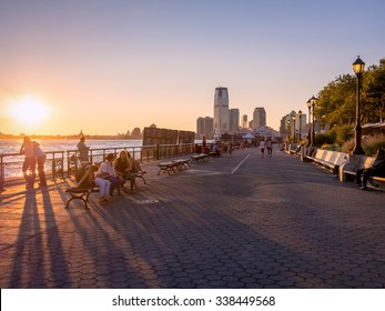 NEW YORK,USA - AUGUST 13,2015 : Sunset at Battery Park in New York City