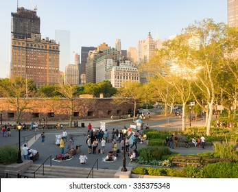 NEW YORK,USA - AUGUST 16,2015 : Battery Park in New York City at sunset