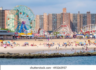 NEW YORK,USA - AUGUST 18,2016 : The beach and the amusement park at Coney Island in New York City